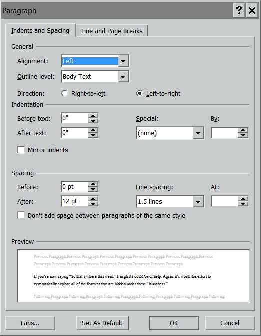 Launch of the Paragraph Dialog