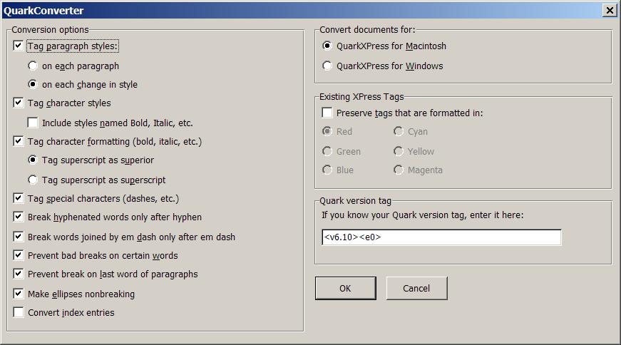 Quark Converter Options